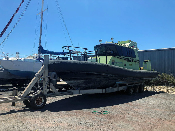 Pilot Boat RIB Beyond Vegas on trailer prior to refit