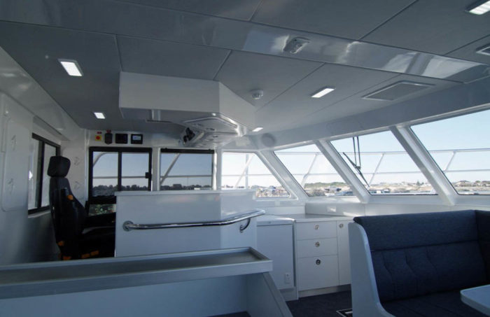 Wheelhouse of new Southerly crayboat Force of Nature for Geraldton lobster fishing