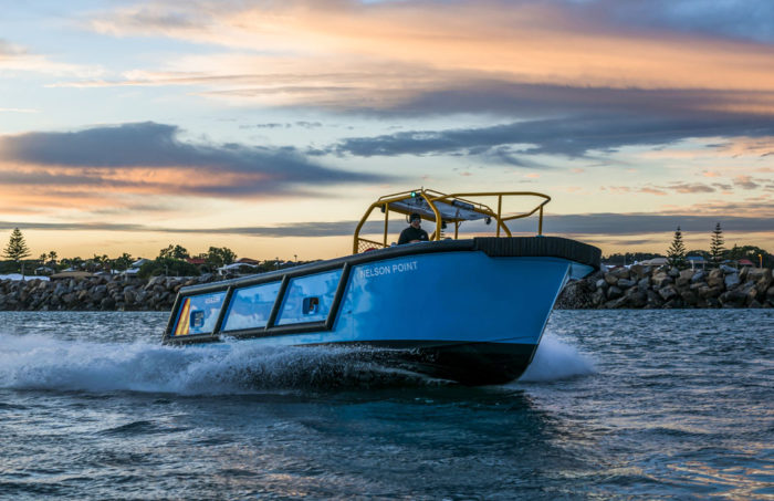 Bow quarter view of fast new work boat / line boat Jetwave Nelson Point built by boatbuilder Dongara Marine in Western Australia