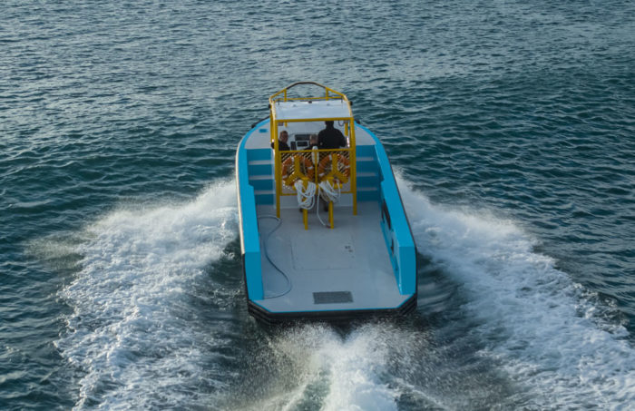 Work deck of fast new work boat / line boat Jetwave Nelson Point built by boatbuilder Dongara Marine in Western Australia