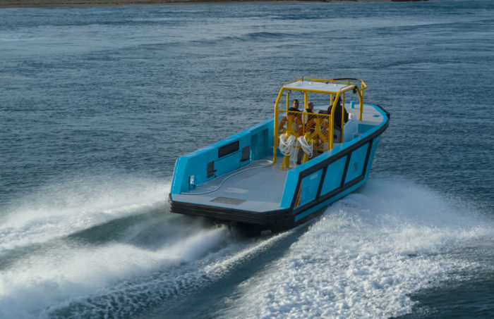 Aft view of fast new work boat / line boat Jetwave Nelson Point built by boatbuilder Dongara Marine in Western Australia