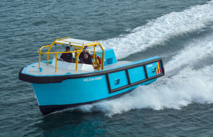 Aerial view of fast new work boat / line boat Jetwave Nelson Point built by boatbuilder Dongara Marine in Western Australia
