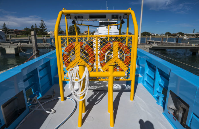 Towing crucifix on new work boat / line boat Jetwave Nelson Point built by boatbuilder Dongara Marine in Western Australia