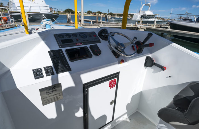 Helm console on new work boat / line boat Jetwave Nelson Point built by boatbuilder Dongara Marine in Western Australia