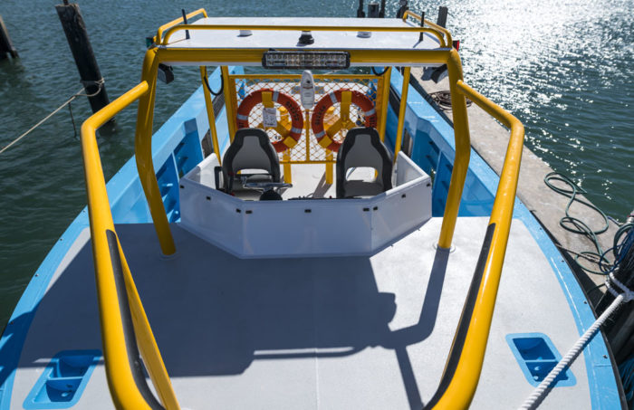 Foredeck of fast new work boat / line boat Jetwave Nelson Point built by boatbuilder in Western Australia