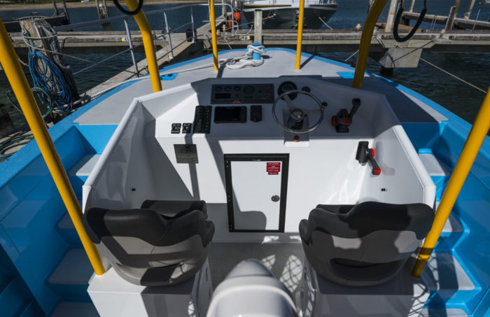 Crew area on fast new work boat / line boat Jetwave Nelson Point built by boatbuilder Dongara Marine in Western Australia
