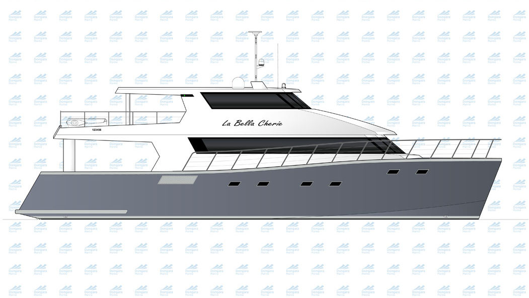 Profile of 25m private catamaran motor yacht La Bella Cherie